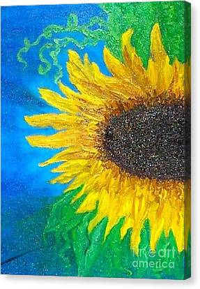Canvas Print featuring the painting Sunflower by Holly Martinson