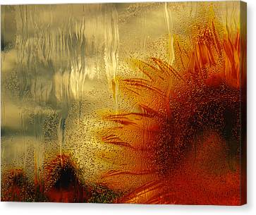 Digital Sunflower Canvas Print - Sunflower In The Rain by Jack Zulli