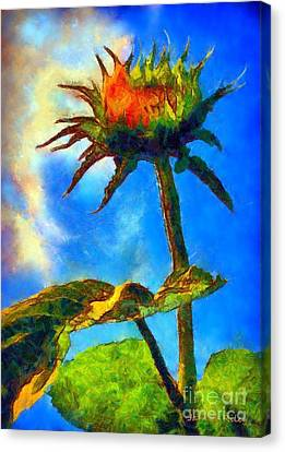 Sunflower - It's A Glorious Day She Said. Canvas Print by Janine Riley