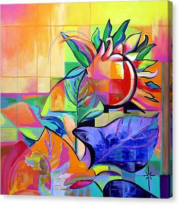 Canvas Print featuring the painting Sunflower by Jodie Marie Anne Richardson Traugott          aka jm-ART