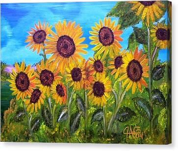 Sunflower Jungle Canvas Print by The GYPSY And DEBBIE