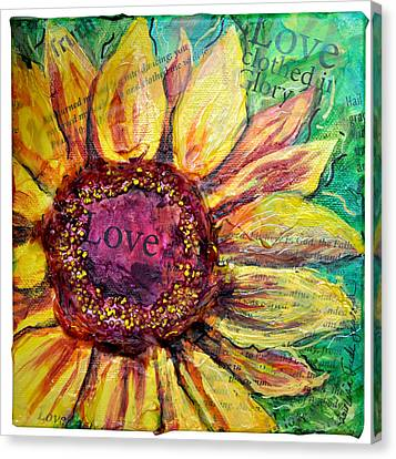 Sunflower Love  Canvas Print by Lisa Fiedler Jaworski
