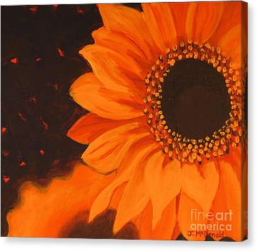 Canvas Print featuring the painting Sunflower Mystique by Janet McDonald