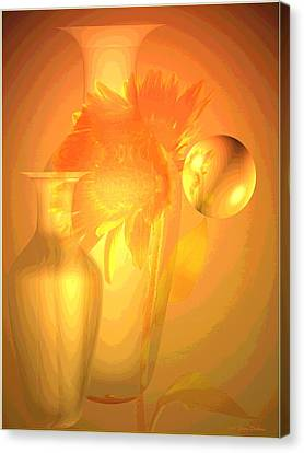 Sunflower Orange With Vases Posterized Canvas Print by Joyce Dickens