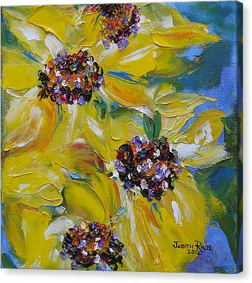 Canvas Print featuring the painting Sunflower Quartet by Judith Rhue