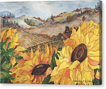 Barn Pen And Ink Canvas Print - Sunflower Serenity by Meldra Driscoll