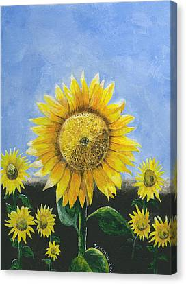 Canvas Print featuring the painting Sunflower Series One by Thomas J Herring