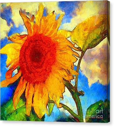 Sunflower Shine Canvas Print by Janine Riley