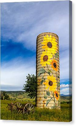 Sunflower Silo Canvas Print by Teri Virbickis