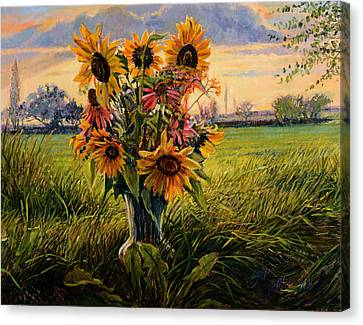 Canvas Print featuring the painting Sunflower Sunset by Steve Spencer