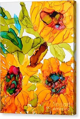 Sunflower Trio Canvas Print by Vicki  Housel