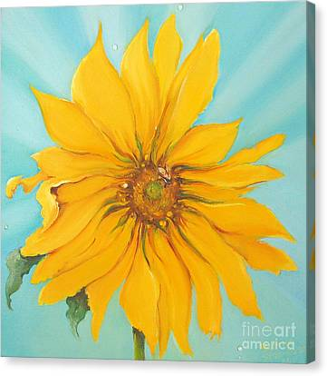Sunflower With Bee Canvas Print by Bettina Star-Rose
