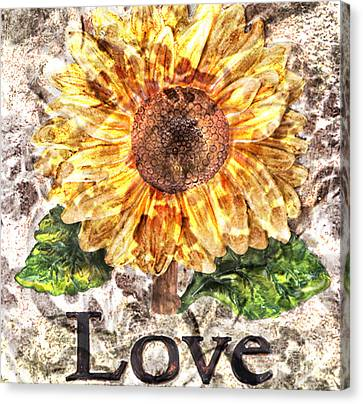 Sunflower With Hope And Love Canvas Print