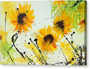 Sunflowers - Abstract Painting Canvas Print by Ismeta Gruenwald
