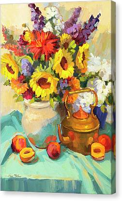 Sunflowers And Copper Canvas Print by Diane McClary