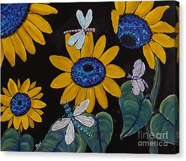 Sunflowers And Dragonflys-painting Canvas Print by Beverly Livingstone