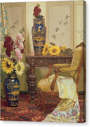 Sunflowers And Hollyhocks Canvas Print