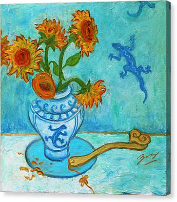 Canvas Print featuring the painting Sunflowers And Lizards by Xueling Zou