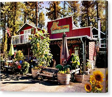 Mountain Cabin Canvas Print - Sunflowers And Mountain Gifts by Glenn McCarthy Art and Photography