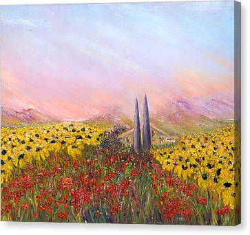 Sunflowers And Poppies Canvas Print