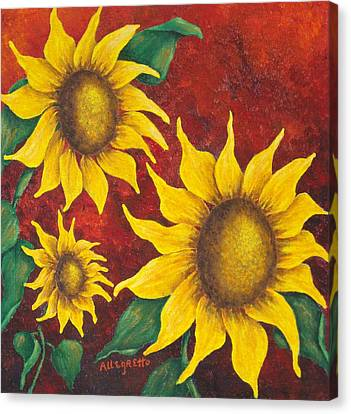 Sunflowers At Sunset Canvas Print by Pamela Allegretto