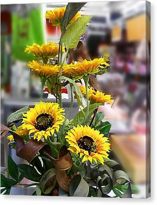 Sunflowers At The Market Florence Italy Canvas Print by Irina Sztukowski