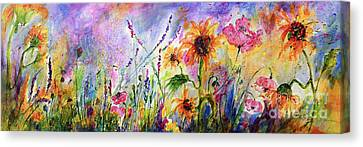 Sunflowers Bees Pink Poppies Wildflowers Canvas Print