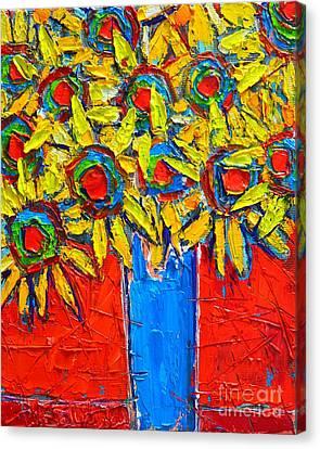 Sunflowers Bouquet In Blue Vase Canvas Print by Ana Maria Edulescu
