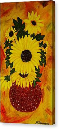 Canvas Print featuring the painting Sunflowers by Celeste Manning