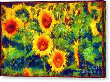 Field Of Crops Canvas Print - Sunflowers Dance In A Field by Janine Riley
