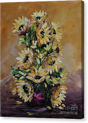 Canvas Print featuring the painting Sunflowers For You by Teresa Wegrzyn
