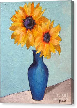 Sunflowers In A Blue Vase Canvas Print by Venus