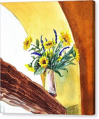 Sunflowers In A Pitcher Canvas Print by Irina Sztukowski