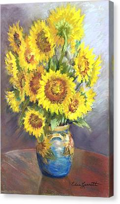Sunflowers In A Sunflower Vase Canvas Print