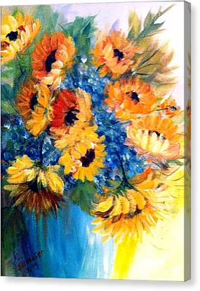 Sunflowers In A Vase Canvas Print by Dorothy Maier