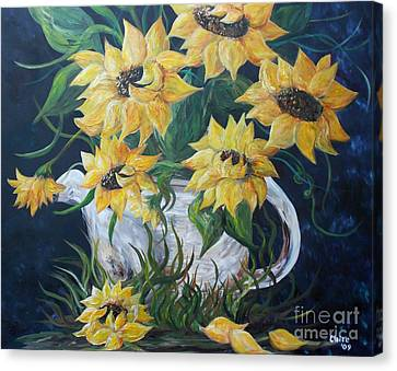 Sunflowers In An Antique Country Pot Canvas Print by Eloise Schneider