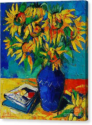 Magazine Art Canvas Print - Sunflowers In Blue Vase by Mona Edulesco