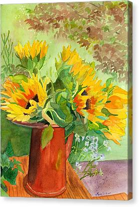 Sunflowers In Copper Canvas Print by Lynne Reichhart