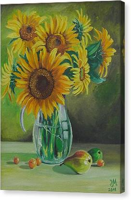 Sunflowers In Glass Jug Canvas Print by Nina Mitkova