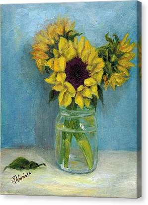 Sunflowers In Mason Jar Canvas Print by Sandra Nardone