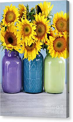 Sunflowers In Painted Mason Jars Canvas Print by Stephanie Frey