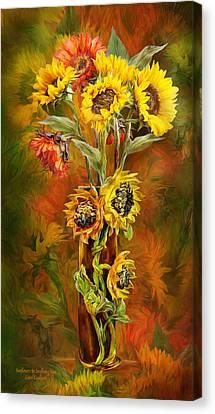 Sunflowers In Sunflower Vase Canvas Print by Carol Cavalaris