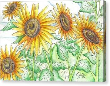 Sunflowers In The George Garden Canvas Print by The GYPSY And DEBBIE