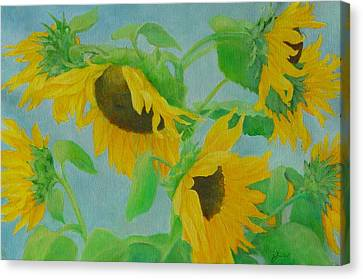 Sunflowers In The Wind 2 Canvas Print