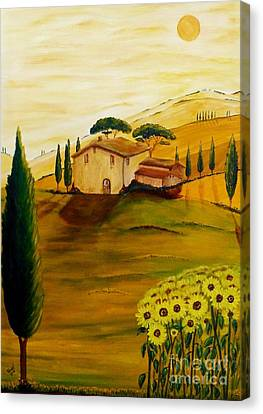 Sunflowers In Tuscany Canvas Print by Christine Huwer