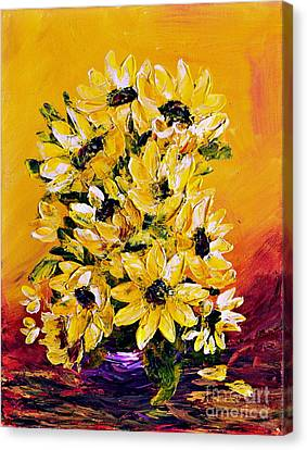 Canvas Print featuring the painting Sunflowers  No.3 by Teresa Wegrzyn