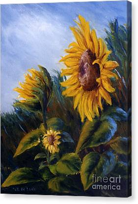 Canvas Print featuring the painting Sunflowers On Green Hill Under Blue Sky by Lenora  De Lude