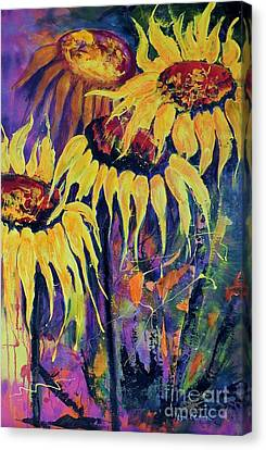 Sunflowers On Purple Canvas Print by Lyn Olsen