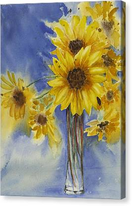 Sunflowers Picked Today Canvas Print by Judy Loper
