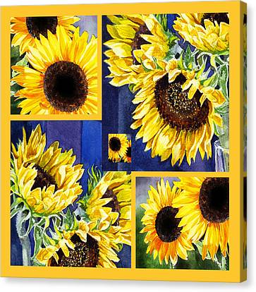 Sunflowers Sunny Collage Canvas Print by Irina Sztukowski